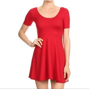 Like New - Cherry Red Skater Mini Dress